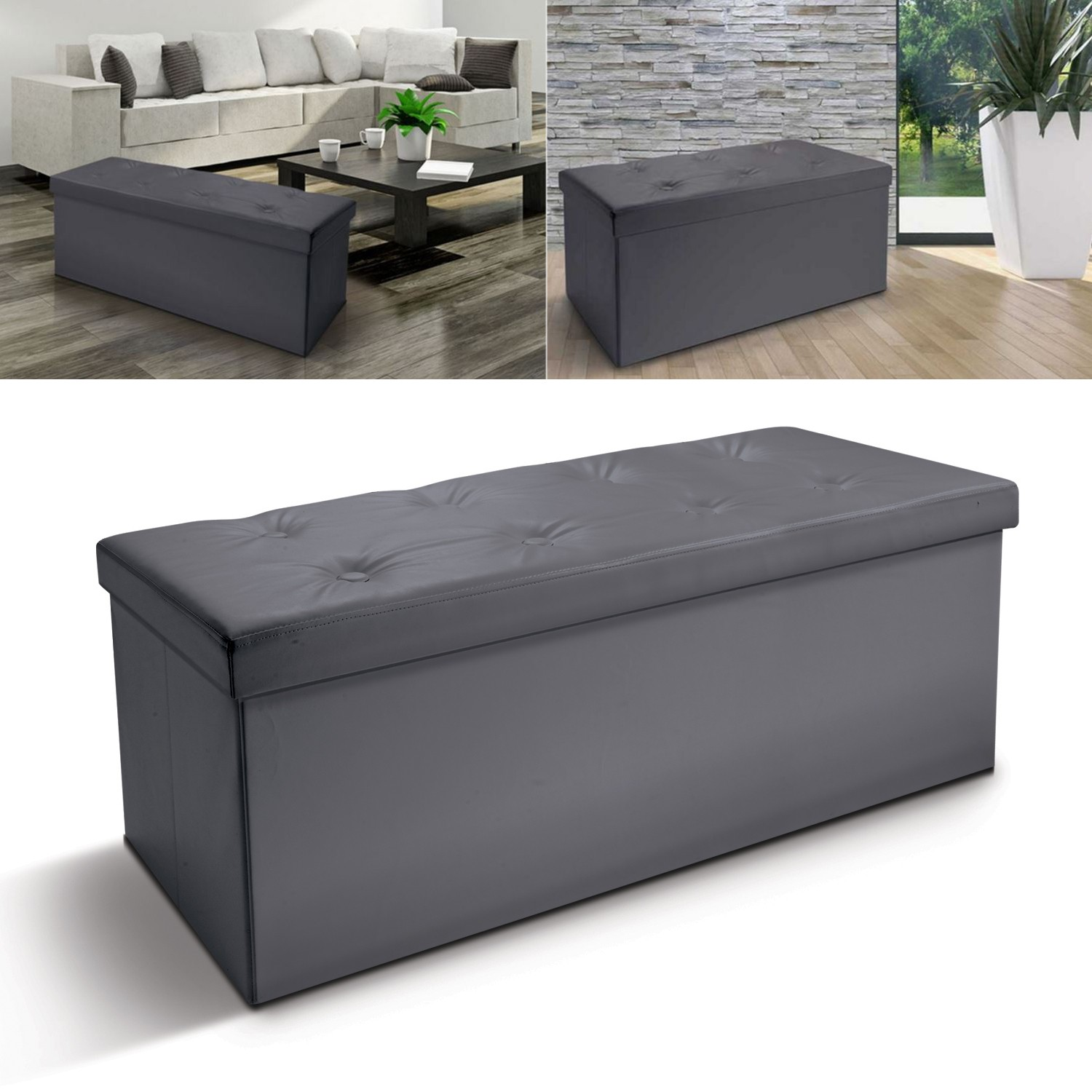 banc coffre rangement pliable gris gm 100x38x38 cm meubles et am n. Black Bedroom Furniture Sets. Home Design Ideas