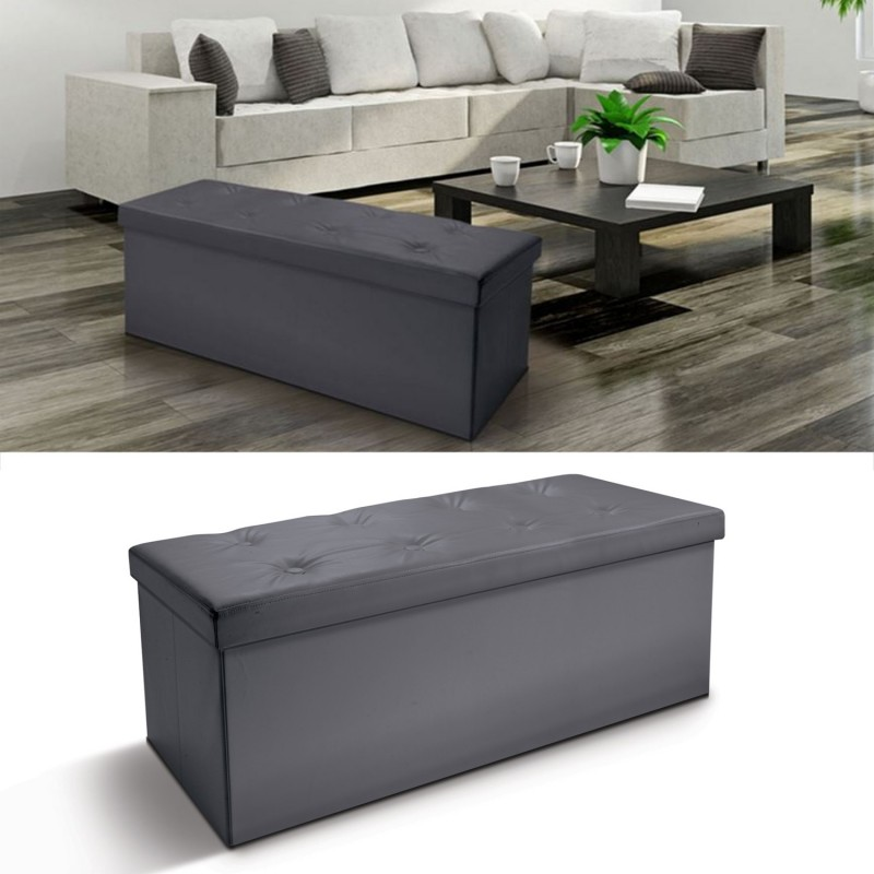 banc coffre rangement pvc gris 100x38x38 cm pliable ebay. Black Bedroom Furniture Sets. Home Design Ideas