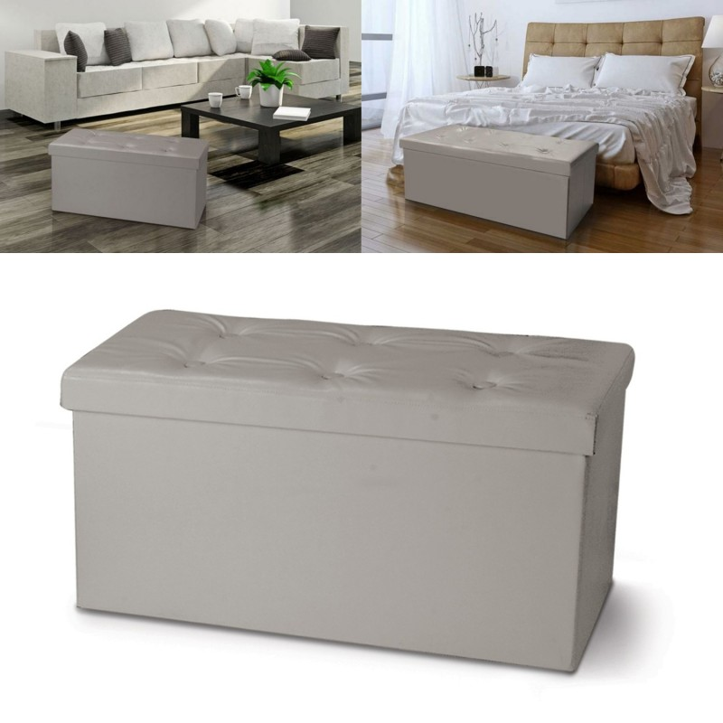banc coffre rangement pvc taupe 100x38x38 cm pliable. Black Bedroom Furniture Sets. Home Design Ideas