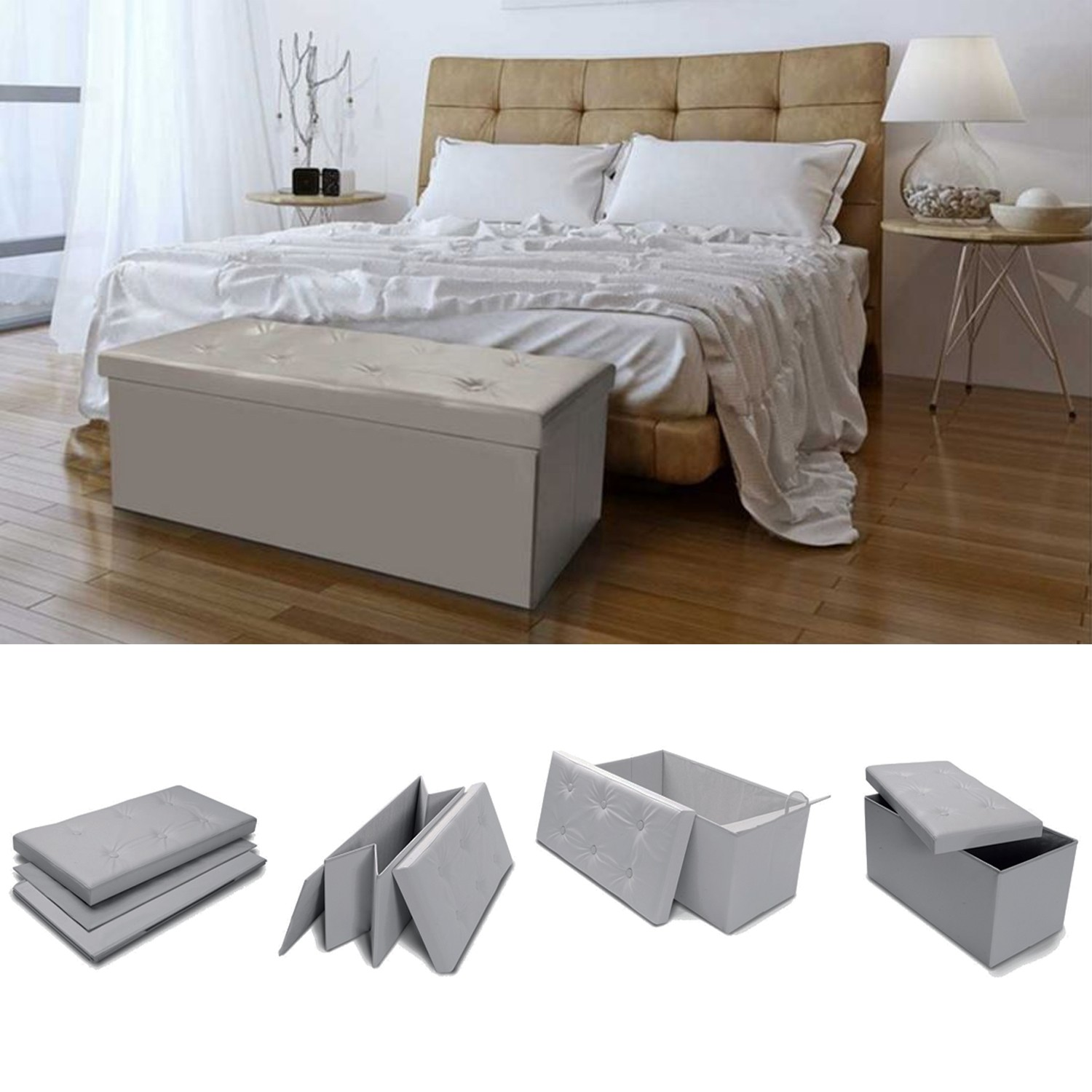 banc coffre rangement pvc taupe 100x38x38 cm pliable accessoires m. Black Bedroom Furniture Sets. Home Design Ideas