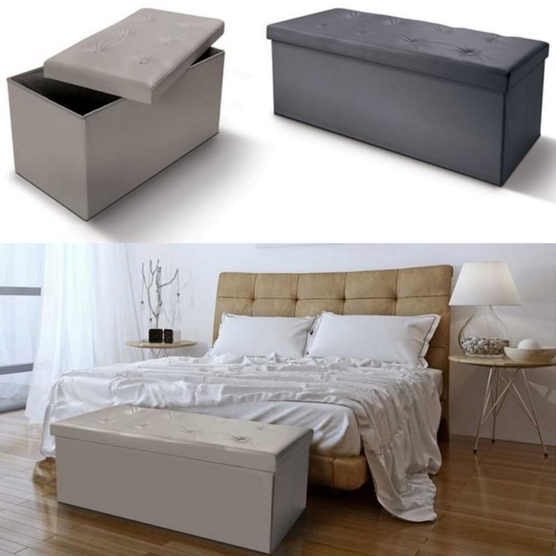Banc coffre rangement pvc taupe 76x38x38 cm pliable meubles et am - Coffre de rangement capitonne ...
