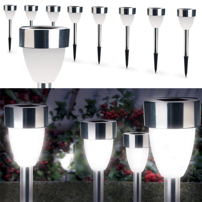 lampe borne solaire led x8 forme tulipe blanche ebay. Black Bedroom Furniture Sets. Home Design Ideas