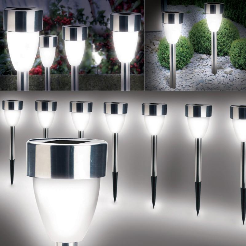 lampe borne solaire led x8 forme tulipe blanche eclairage. Black Bedroom Furniture Sets. Home Design Ideas