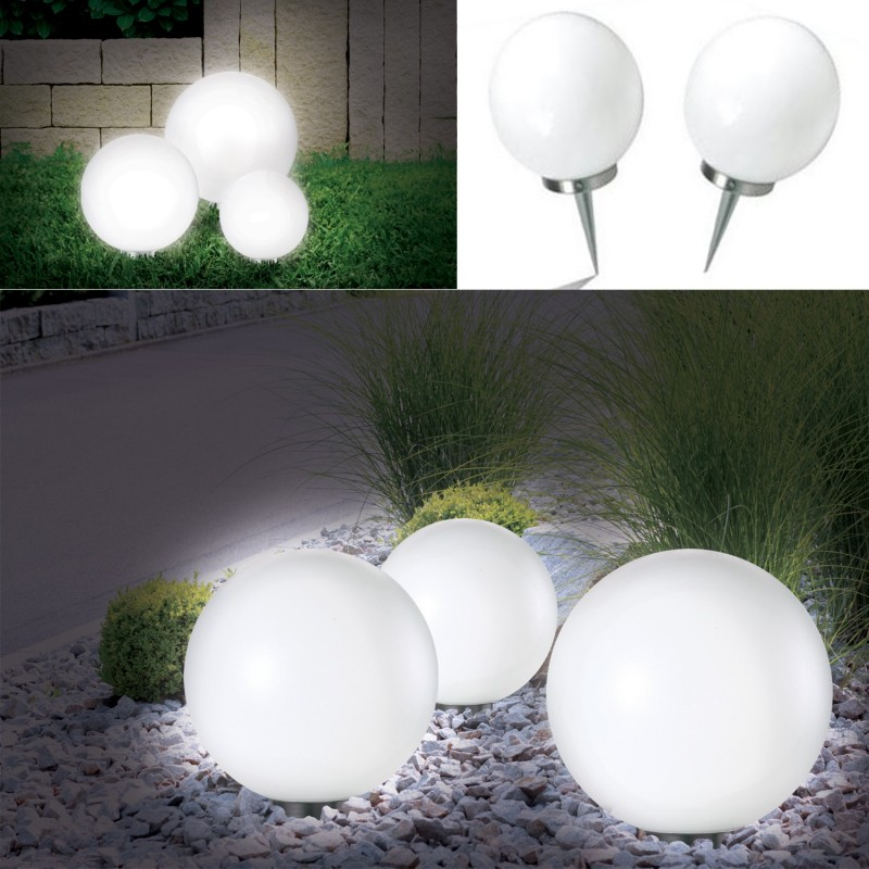 lampe boule 15 cm led solaire x2 eclairage et d coration ext rieure. Black Bedroom Furniture Sets. Home Design Ideas