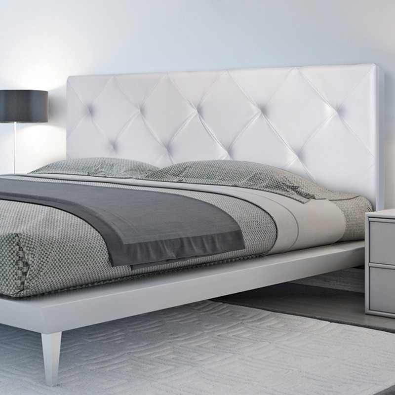 t te de lit capitonn e simili cuir blanc 160x60cm imprim. Black Bedroom Furniture Sets. Home Design Ideas