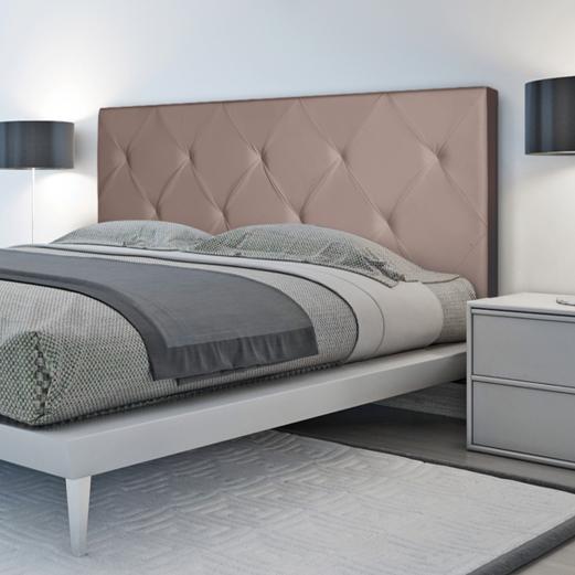 Tête de lit capitonnée simili cuir taupe 160x60cm imprimé 14 boutons
