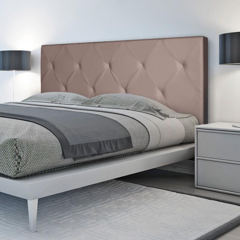 Tête de lit capitonnée simili cuir taupe 160x60cm imprimé