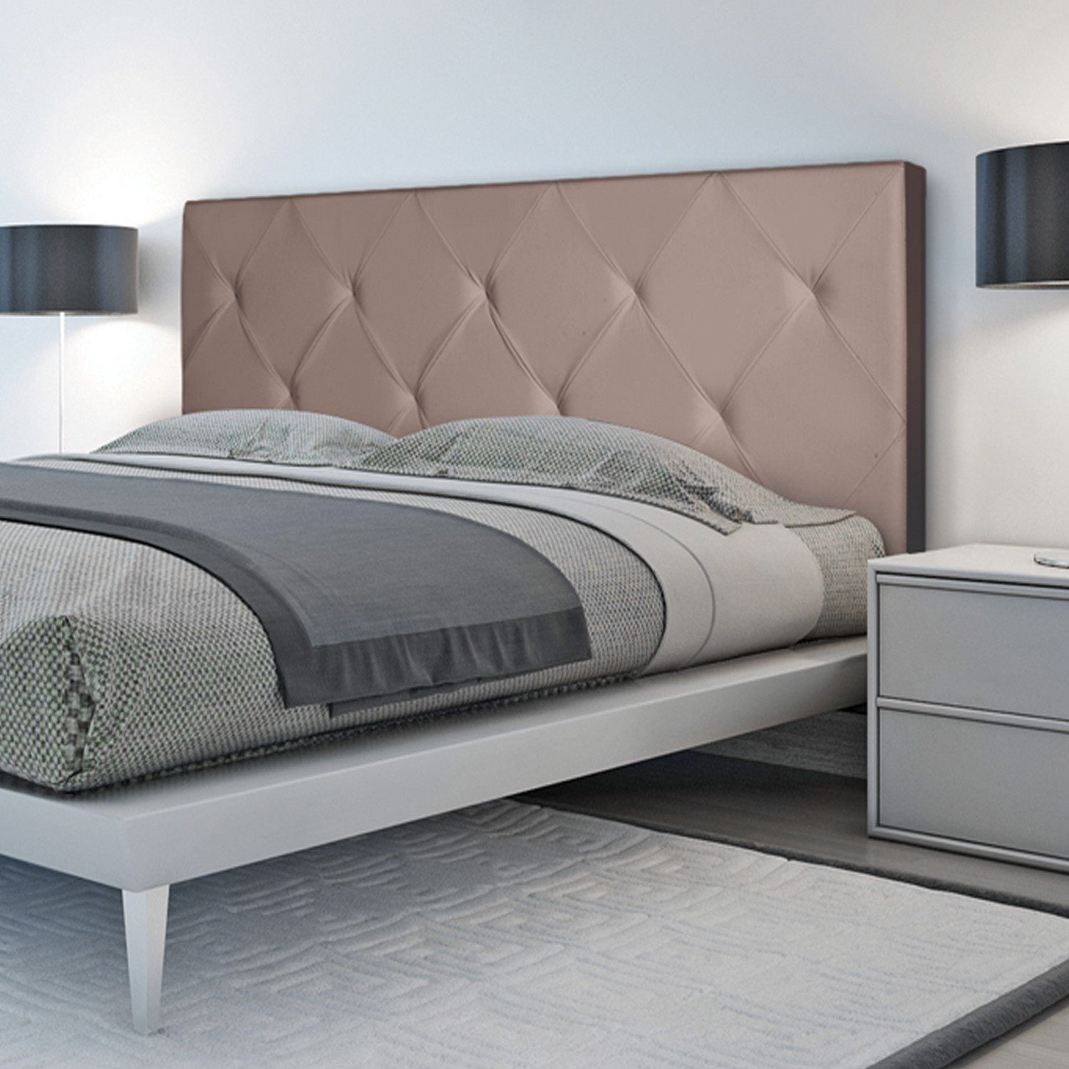 t te de lit capitonn e pvc taupe 160x58 cm imprim 14 boutons meub. Black Bedroom Furniture Sets. Home Design Ideas