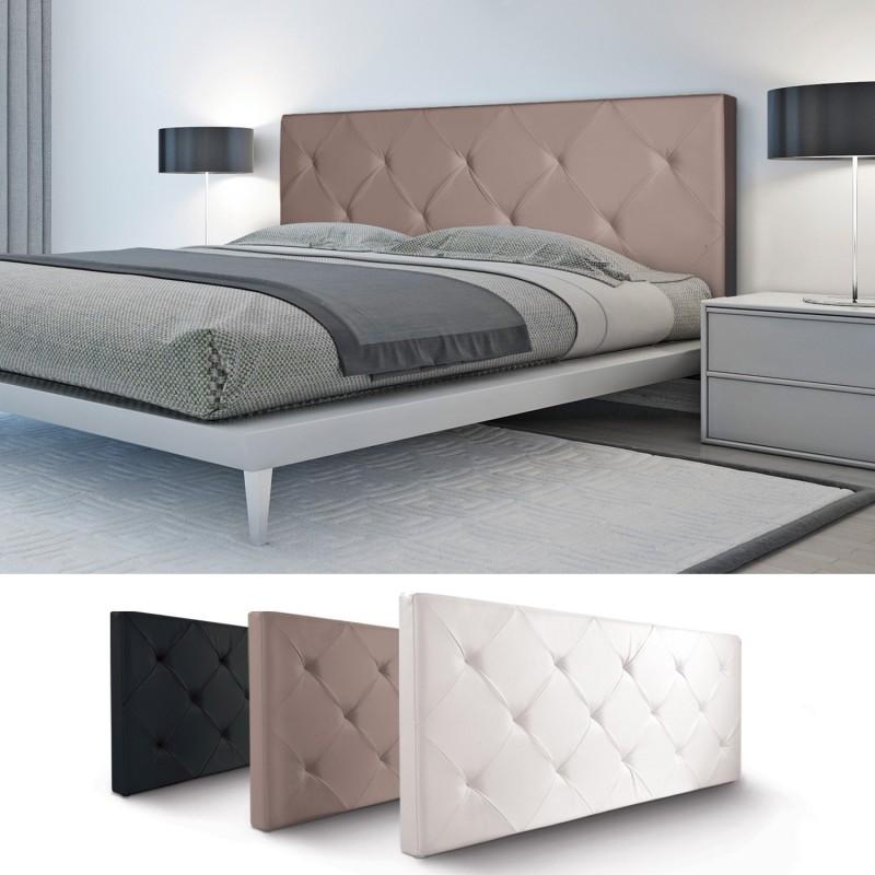 t te de lit capitonn e pvc taupe 160x58 cm accessoires. Black Bedroom Furniture Sets. Home Design Ideas