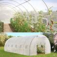 Grande serre de jardin transparente 18 m² tunnel 7 arceaux pro galvanisé 6x3x2m