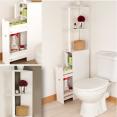 Meuble WC étagère bois gain de place pour toilettes