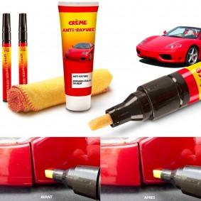 Kit 2 stylos + 1 crème efface-rayures réparateur carrosserie auto moto