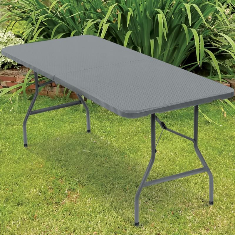 Table pliante d 39 appoint effet r sine tress e grise 180 cm for Table d appoint de jardin