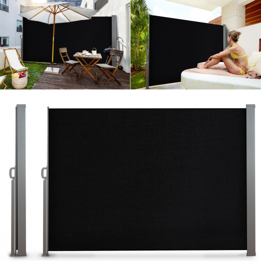 paravent ext rieur r tractable 300x160cm noir store vertical parav. Black Bedroom Furniture Sets. Home Design Ideas