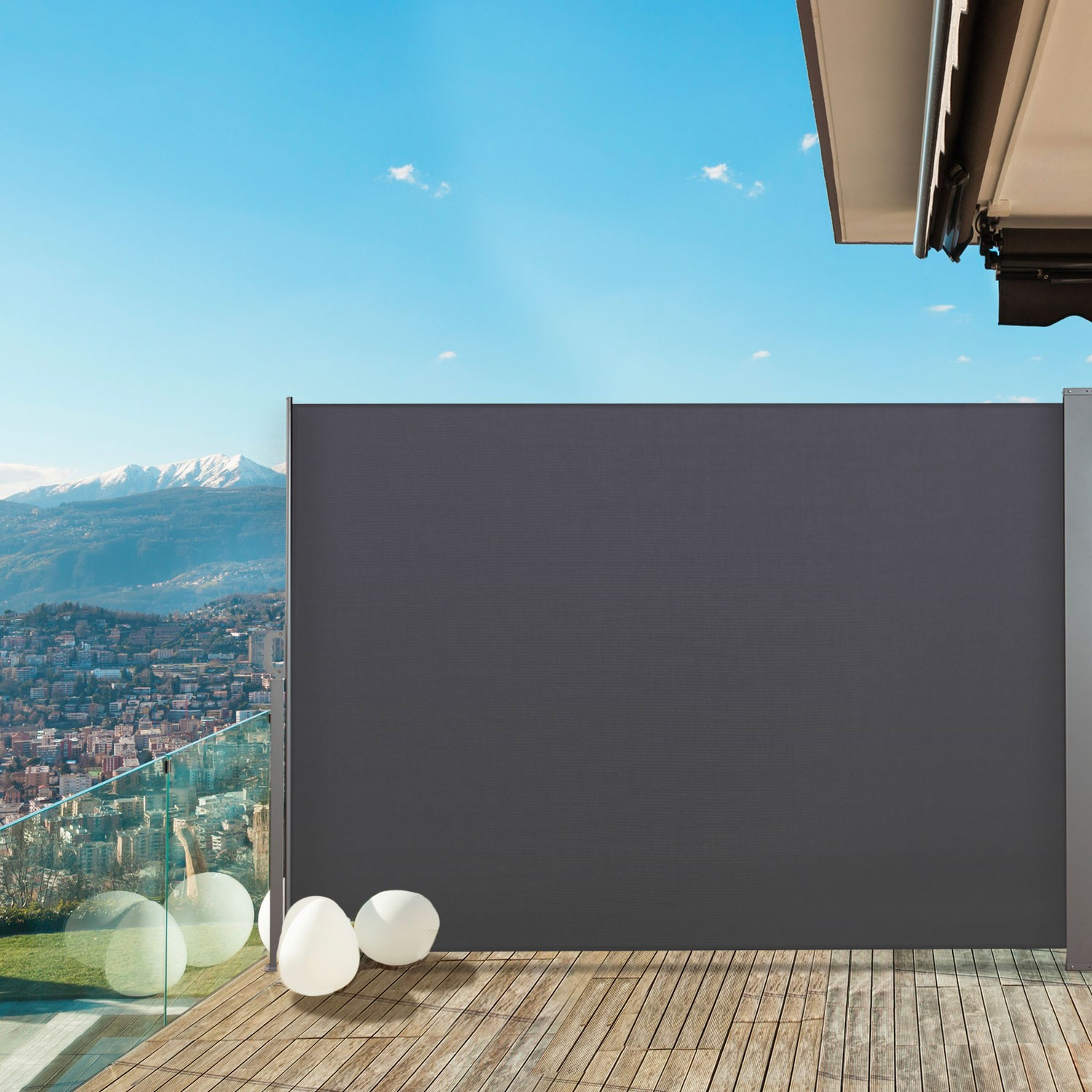 Paravent ext rieur r tractable 300x200cm gris anthracite store vert - Paravent retractable pas cher ...