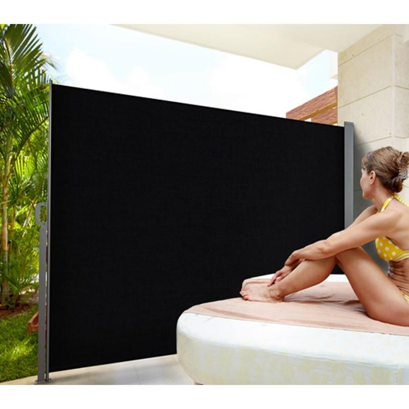 Paravent ext rieur r tractable 300x200cm noir store vertical - Paravent exterieur pour balcon ...