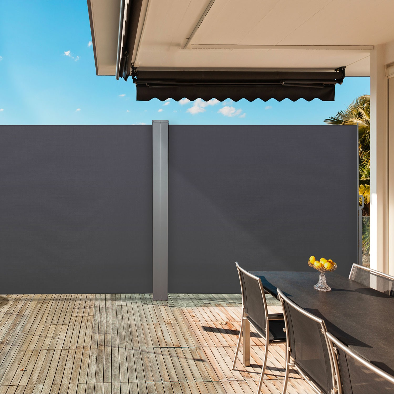 paravent ext rieur r tractable double 600x160cm gris store vertical. Black Bedroom Furniture Sets. Home Design Ideas