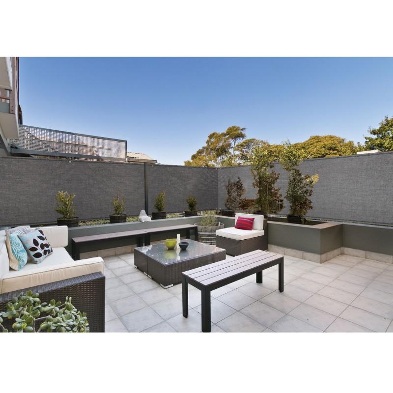 brise vue renforc 1 5 x 10 m gris 220 gr m luxe pro brise vues e. Black Bedroom Furniture Sets. Home Design Ideas