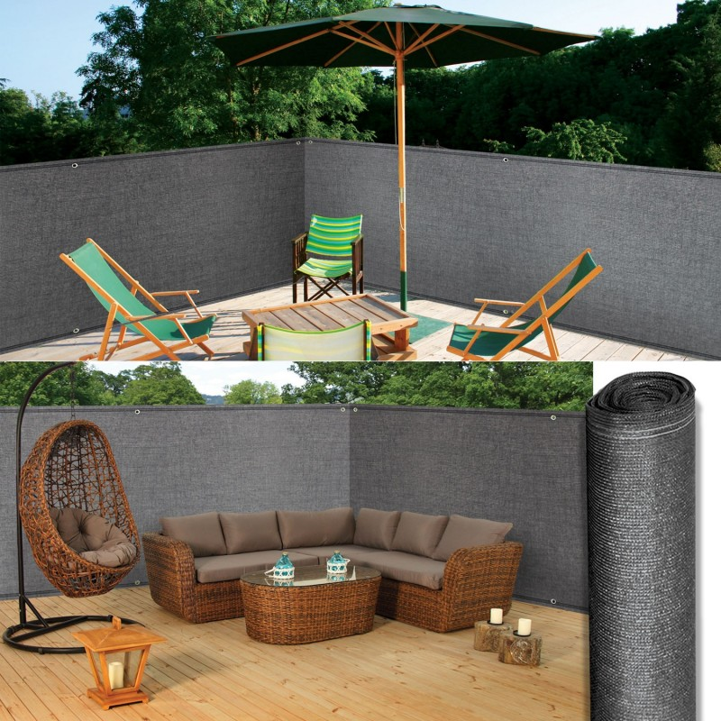 brise vue renforc 1 x 10 m gris 220 gr m luxe pro brise. Black Bedroom Furniture Sets. Home Design Ideas