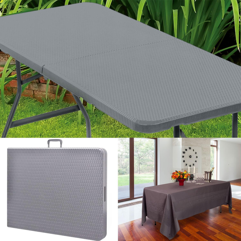 table pliante d 39 appoint effet r sine tress e grise 180 cm pour camp. Black Bedroom Furniture Sets. Home Design Ideas