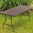 Table pliante d'appoint effet résine tressée marron 180 cm pour camping ou réception