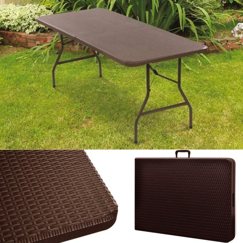 Table pliante d 39 appoint effet r sine tress e marron 180 cm - Table d appoint pliante ...