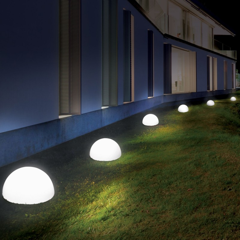 lampe demi boule 20 cm 4 leds solaires x2 eclairage et d coration. Black Bedroom Furniture Sets. Home Design Ideas