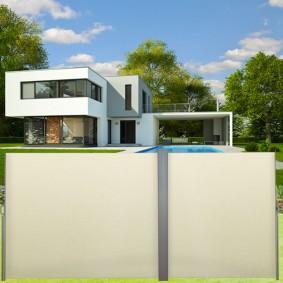 Paravent extérieur rétractable double 600x160cm écru store vertical