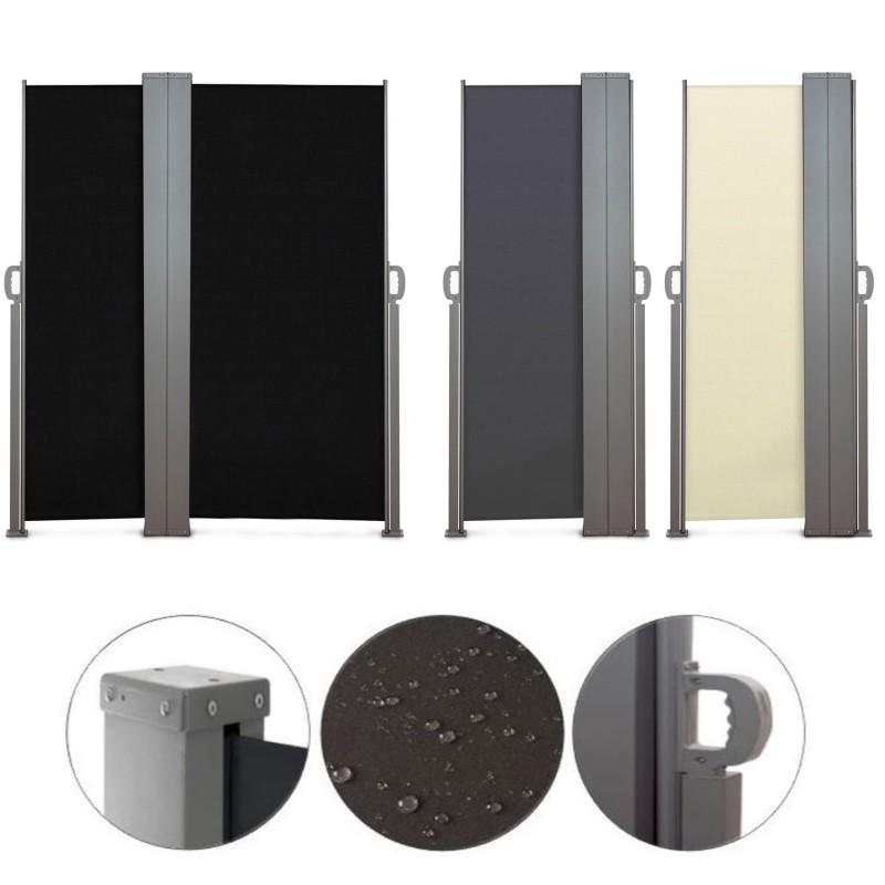 Paravent ext rieur r tractable double 600x160cm noir store vertica - Paravent exterieur retractable ...