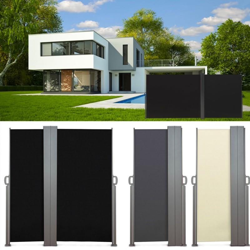 paravent ext rieur r tractable double 600x160cm noir store. Black Bedroom Furniture Sets. Home Design Ideas