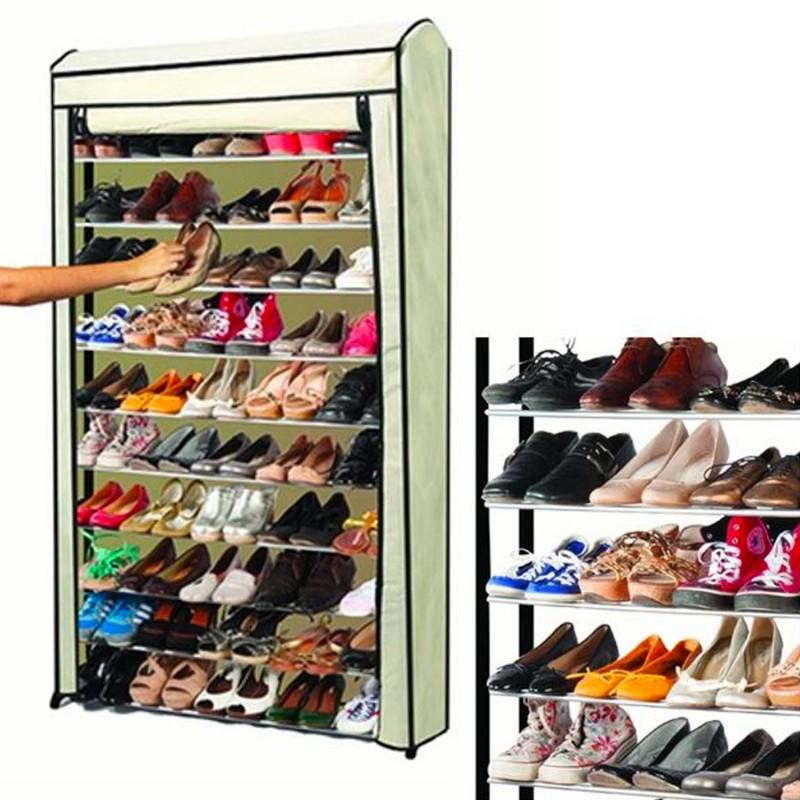Etag re range chaussures 50 paires eco avec sa housse for Meuble chaussure 50 paires