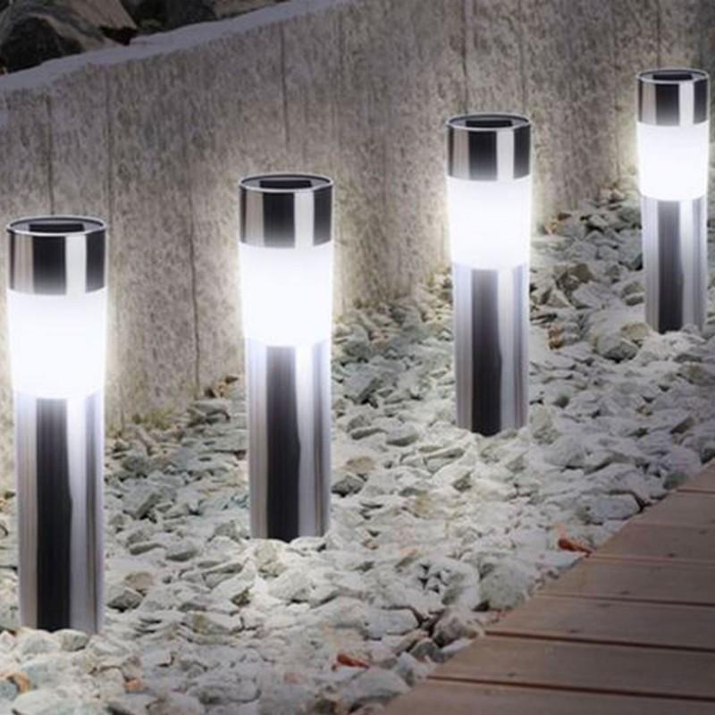 Balise solaire design inox x4 borne de jardin eclairage et for Luminaire de jardin design