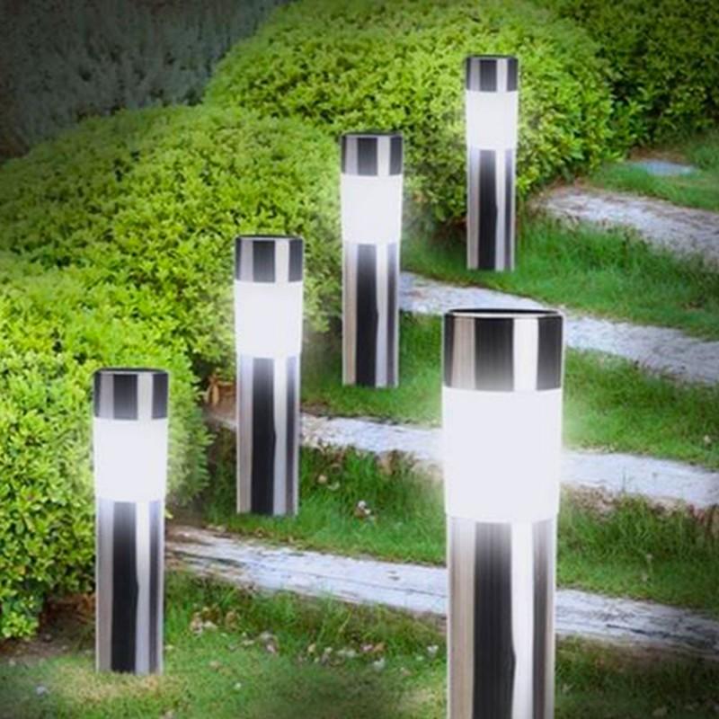 balise solaire design inox x4 borne de jardin eclairage et d corat. Black Bedroom Furniture Sets. Home Design Ideas