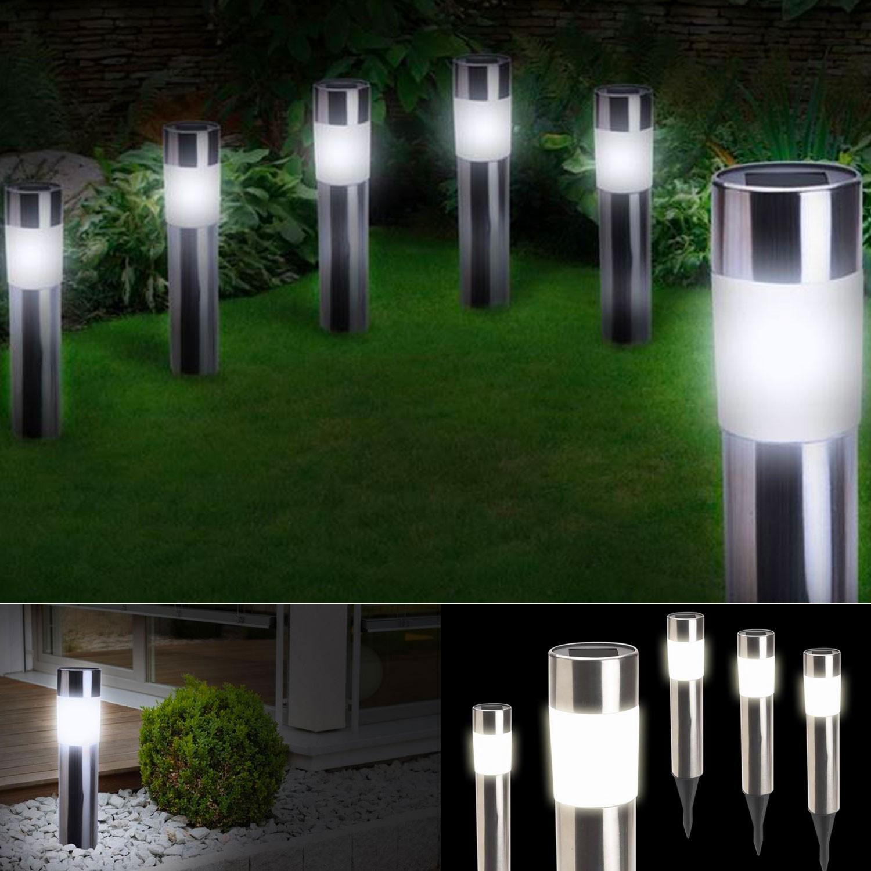Balise solaire design inox x4 borne de jardin eclairage et for Borne de jardin solaire