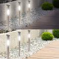 Borne solaire tube X8 70 cm lampe inox éclairage extérieur à led