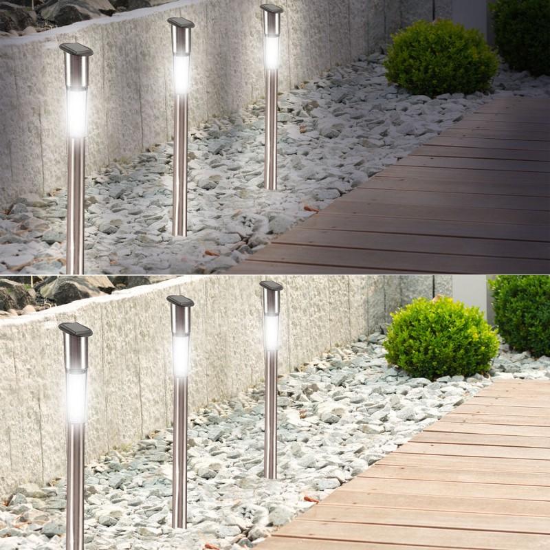 Borne solaire tube x8 70 cm lampe inox clairage ext rieur led - Borne solaire exterieur ...