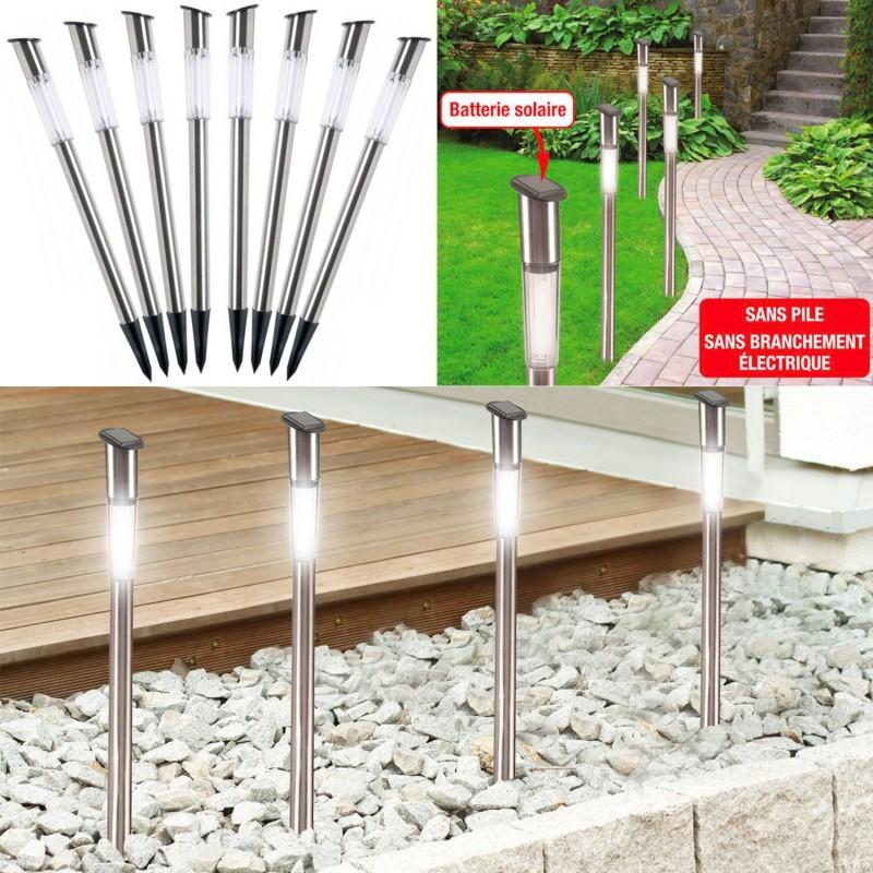 Borne solaire tube x8 70 cm lampe inox clairage ext rieur led - Bornes solaires jardin ...