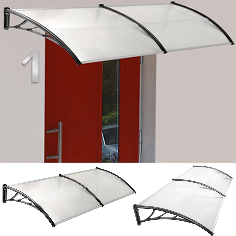 Auvent de porte marquise d 39 accueil 80x240 cm polycarbonate for Comauvent de porte de garage
