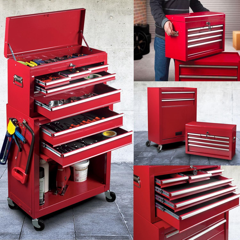 servante d 39 atelier rouge 8 tiroirs avec caisse outils. Black Bedroom Furniture Sets. Home Design Ideas