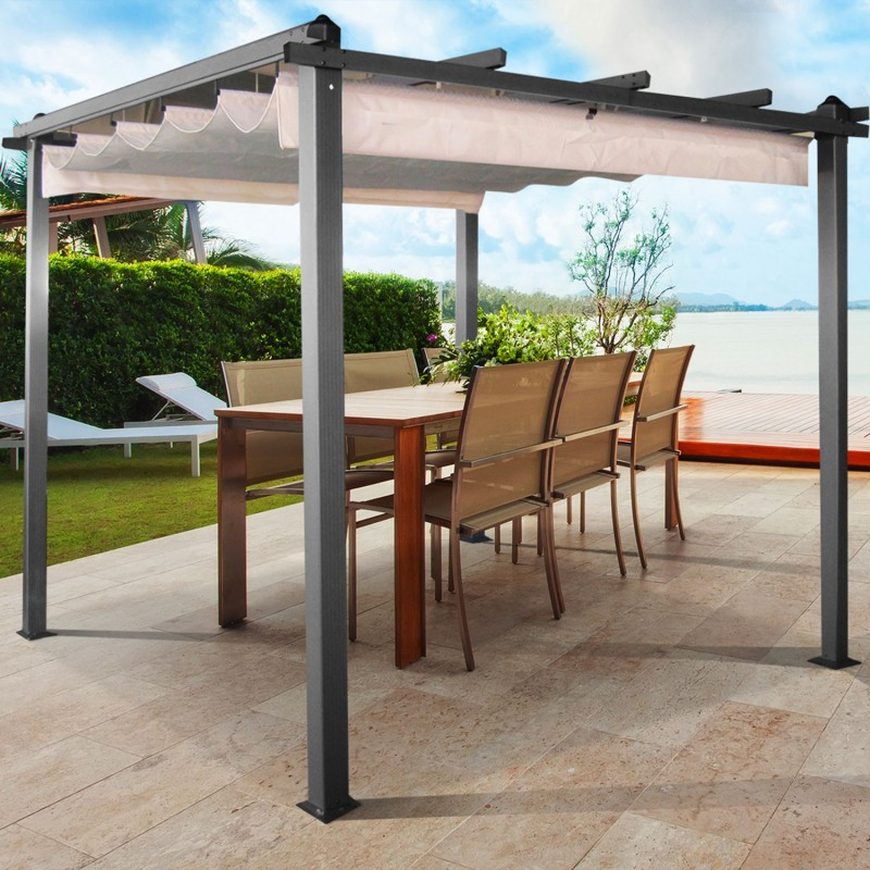 pergola alu 3x3m tonnelle avec toit r tractable crue chapiteaux. Black Bedroom Furniture Sets. Home Design Ideas