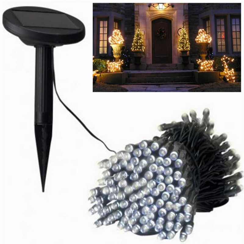 guirlande solaire 200 led blanches d corative eclairage et. Black Bedroom Furniture Sets. Home Design Ideas