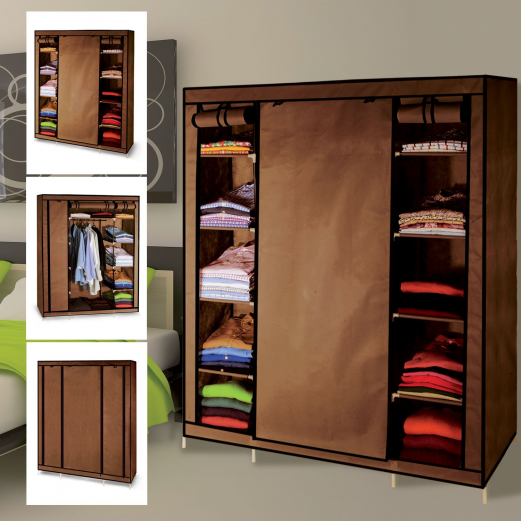 Armoire de rangement chocolat dressing penderie xxl tissu meubles - Grande armoire dressing ...