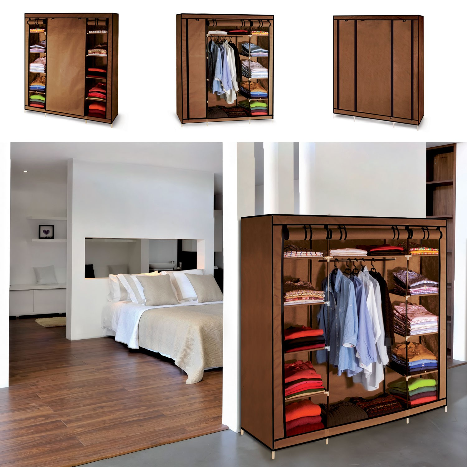 armoire de rangement chocolat dressing penderie xxl tissu. Black Bedroom Furniture Sets. Home Design Ideas