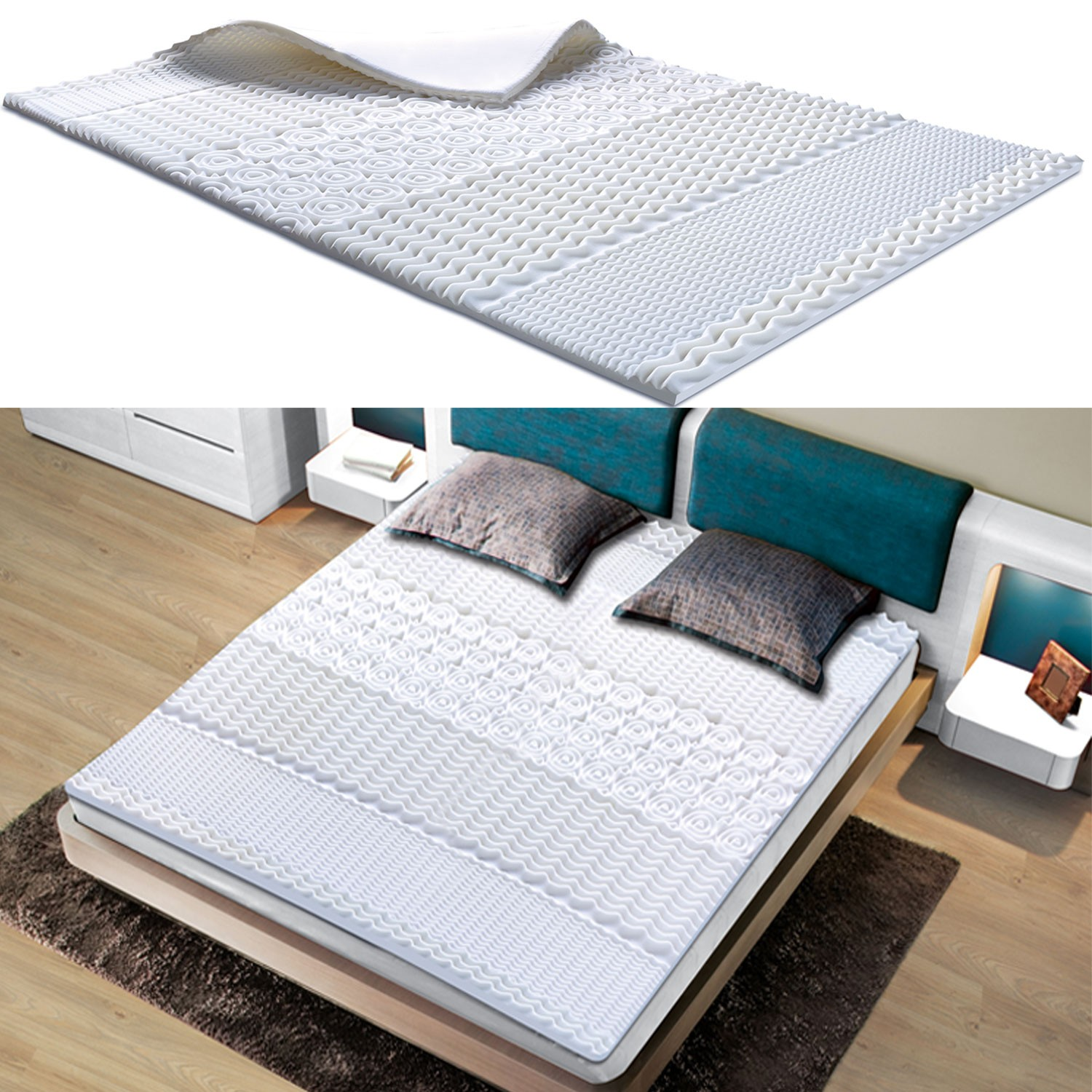 surmatelas mousse m moire de forme 7 zones 80x200 cm. Black Bedroom Furniture Sets. Home Design Ideas