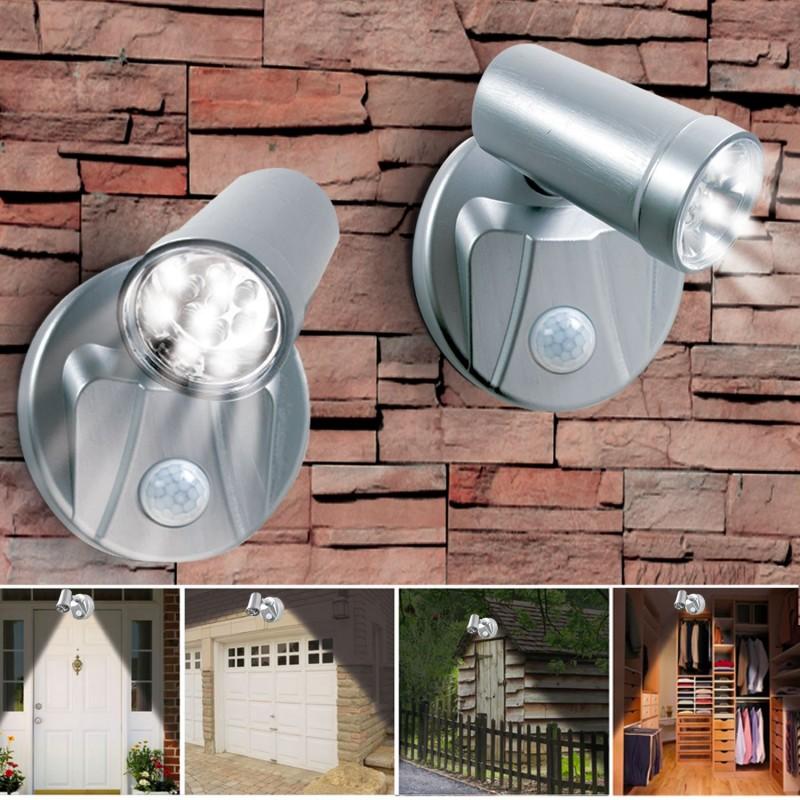 lampe spot x2 7 leds sans fil avec d tecteur de mouvement eclairag. Black Bedroom Furniture Sets. Home Design Ideas