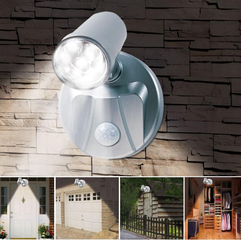 Lampe spot x2 7 leds sans fil avec d tecteur de mouvement for Lampe exterieure sans fil