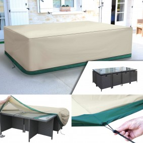 Housse de protection pour table rectangle de jardin et 6 chaises