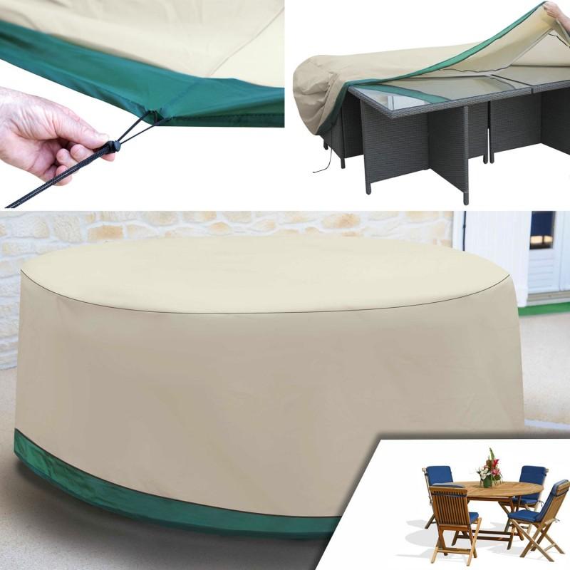 Housse de protection pour table ronde de jardin et ses - Housse de table exterieur ...