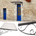 Auvent marquise de porte en fer design rétro 80X150 CM