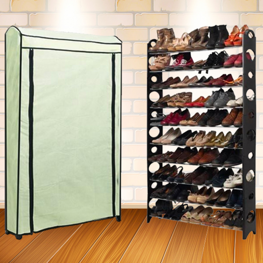 Etagère range chaussures 50 paires modulable et sa housse écrue